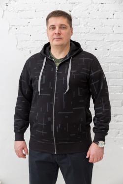 Мужская толстовка большого размера Galion, арт 60243/1 черное пике с начесом