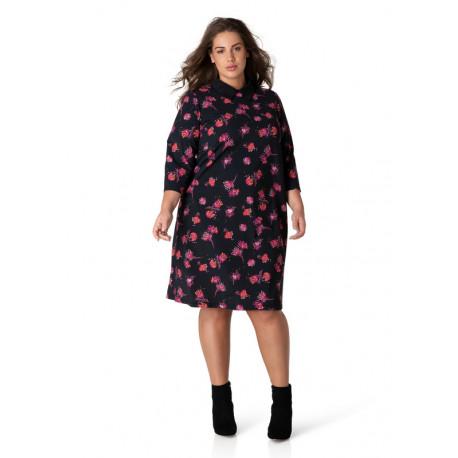 A32679 Женская длинная туника большого размера с небольшим воротничком, можно носить как платье от Yesta (Нидерланды)