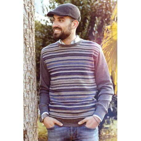166/7 Мужской пуловер большого размера Bernardini Италия Модный пуловер в полоску