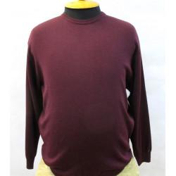 39/2 Однотонный базовый мужской пуловер большого размера с круглой горловиной BERNARDINI